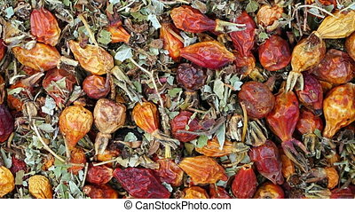 dried rosehips and leaves - Footage dried rosehips and...