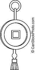 Feng shui Chinese coin with hole icon. Outline illustration...