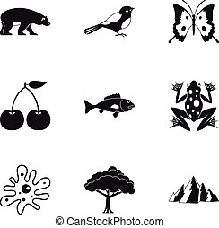 Nature icons set, simple style - Nature icons set. Simple...