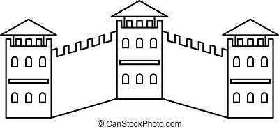 The Great Wall icon, outline style - The Great Wall icon....