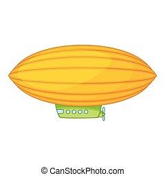 Elliptical airship icon, cartoon style - Elliptical airship...
