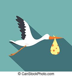 Flying stork with a bundle icon, flat style