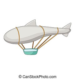 Flying dirigible icon, cartoon style