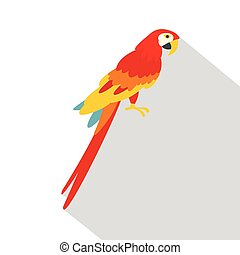 Scarlet macaws icon, flat style - Scarlet macaws icon. Flat...