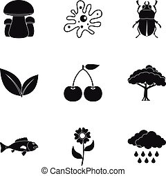 Environment icons set, simple style - Environment icons set....