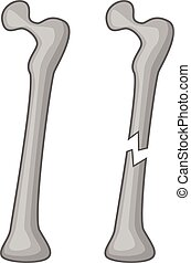 Broken bone icon, cartoon style - Broken bone icon. Cartoon...
