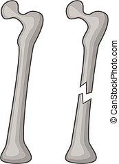 Broken bone icon, cartoon style - Broken bone icon. Cartoon...