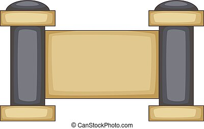 Concrete fence with stone pillars icon. Cartoon illustration...
