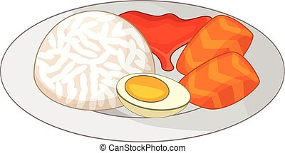 Bento, Japanese food icon, cartoon style - Bento, Japanese...