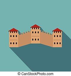 Majestic Great Wall of China icon, flat style - Majestic...