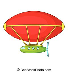 Dirigible icon, cartoon style - Dirigible icon. Cartoon...