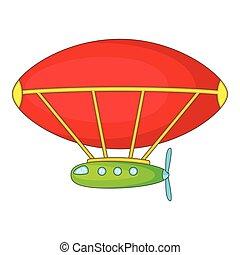 Dirigible icon, cartoon style - Dirigible icon. Cartoon...