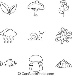 Nature icons set, outline style - Nature icons set. Outline...