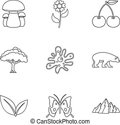 Flora icons set, outline style - Flora icons set. Outline...