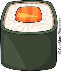 Roll, traditional Japanese food icon cartoon style