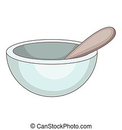 Mortar and pestle icon, cartoon style - Mortar and pestle...