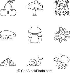 Landscape icons set, outline style - Landscape icons set....