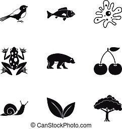 Landscape icons set, simple style - Landscape icons set....