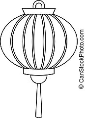 Chinese new year lantern icon, outline style
