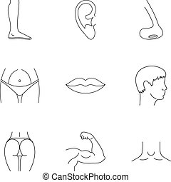 Body parts icons set, outline style - Body parts icons set....