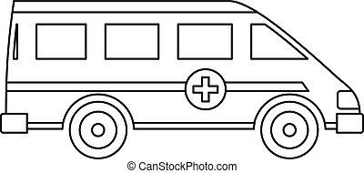 Ambulance emergency paramedic car icon. Outline illustration...