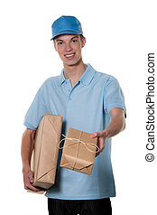 Young man from package courier service takes