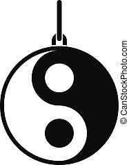 Yin Yang symbol icon, simple style