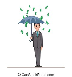Businessman or manager with an umbrella in the rain of money. Cartoon character isolated on white background. Vector, illustration EPS10.
