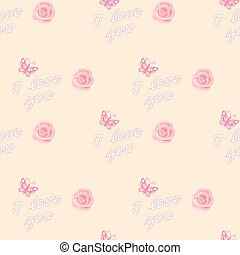 seamless romantic pattern with roses