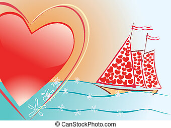 heart and sailboat