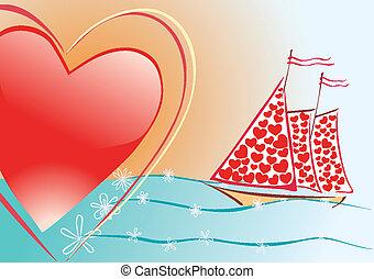 heart and sailboat