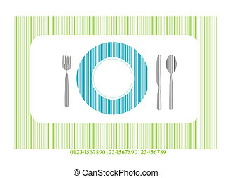 Place setting with knife and plate - Place setting with...