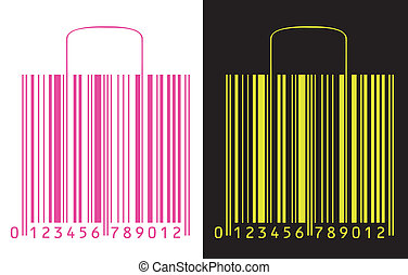 shopping bags stylized as bar code