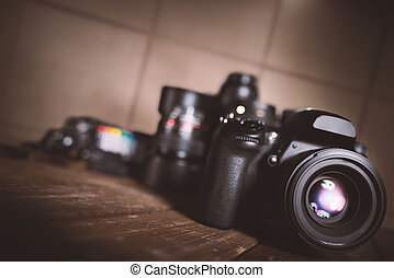 Professional reflex camera - Background of professional...