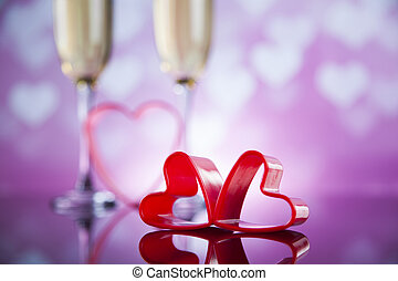 Celebration with champagne and rose, mirror background -...