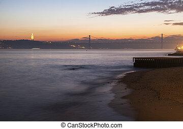 25th of April Bridge and Cristo Rei Statue in Lisbon....