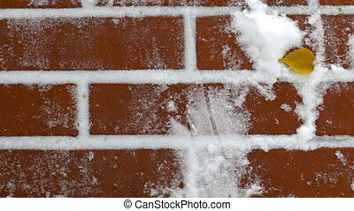 red brick wall with snow - Footage red brick wall with snow