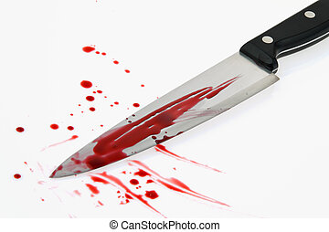 Knife with blood Crime A murder weapon - A knife smeared...