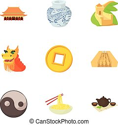 Country of China icons set, cartoon style