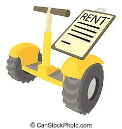 Rent segway icon, cartoon style - Rent segway icon. Cartoon...