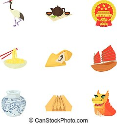 China icons set, cartoon style
