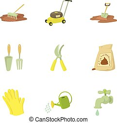 Tending garden icons set, cartoon style - Tending garden...