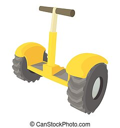 Eco segway icon, cartoon style - Eco segway icon. Cartoon...