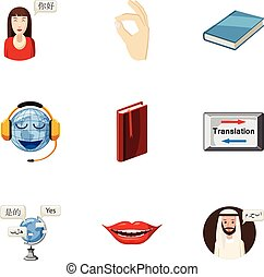 Foreign language icons set, cartoon style - Foreign language...