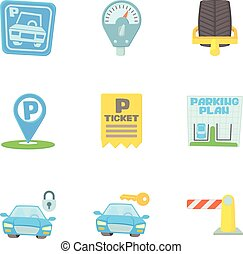 Parking area icons set, cartoon style - Parking area icons...