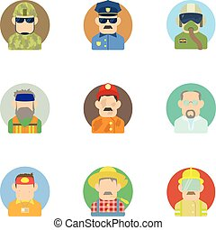 Specialty icons set, flat style - Specialty icons set. Flat...