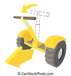 Front inclined segway icon, cartoon style - Front inclined...