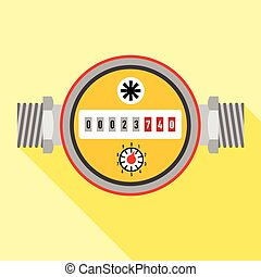 Water meter icon, flat style - Water meter icon. Flat...