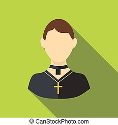 Priest icon, flat style - Priest icon. Flat illustration of...