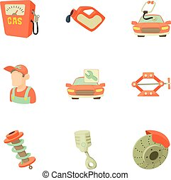 Garage icons set, cartoon style - Garage icons set. Cartoon...